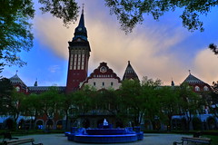 Town Hall w/Fountain - Subotica, Serbia (meckleychina) Tags: blue architecture modern clocktower artnouveau balkans subotica