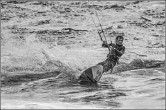 Kite Surfing - Study in monochrome (Explored 28/05/2014) (Smudge 9000) Tags: sea kite bay surf wind unitedkingdom compton surfing kitesurfing isleofwight freshwater 2014
