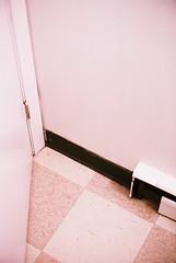 (Ali Seglins) Tags: door hinge pink light canada film lines wall analog corner 35mm tile square bathroom 50mm novascotia floor f14 angles down fujifilm tight halifax canona1 washroom aliseglins