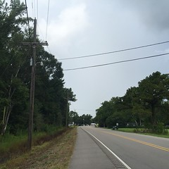 The Road Ahead. Day 110. Rt. 20 in Schriever, LA. Didn't fall asleep until 4:30 last night, tried to sleep on a church porch but this town is literally in a swamp so the mosquitos and humidity were insane. After battling to fall asleep most of the night I