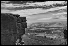 Guardians of The Free (amber654) Tags: england derbyshire curbar curbaredge gritstone gritstoneedge valley derwentvalley peakdistrict peaknationalpark nationalpark mono monochrome bw blackandwhite landscape scenery stone sky clouds cliff nikon nikond5100 d5100 18105