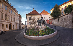 of dragons and men (cherryspicks (on/off)) Tags: zagreb street croatia cobblestone architecture buildings historic moon square stonegate kamenitavrata art stgeorge dragon gornjigrad urbanscenery urbanlandscape travel city citycenter