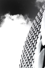A Wonderful Day, In A One Way World (P.G.) (Neil B's) Tags: petergabriel superman world 1 one bw monochrome birmingham abstract building high low