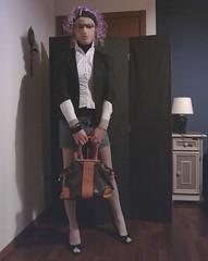 Pink Hair (Julia Cool) Tags: pantyhose tights hosiery stockings nylon transgender tgirl heels julia cool collant calze strumpfhosen sissy trap transvestite amateur transgenderpantyhose juliacool highheels trav transgenre trans transex transexuelle crossdresser pink hair denim skirt boots peeptoe