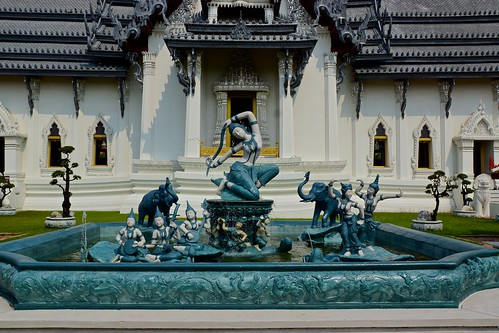 Fountain with sculptures in The Ancient City - Mueang Boran in Samut Phrakhan near Bangkok, Thailand