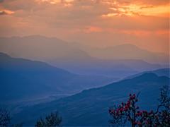 Sunset over the valley on the way from Dhampus to Phedi, Nepal (CamelKW) Tags: abc annapurnabasecamptrek annapurnaregiontrek annapurnasanctuary fishtail kathmandu mbc machapuchare machapucharebasecamp nepal pokhara trekking