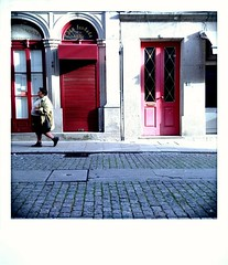 ... (paulo_viana) Tags: red person street photography door viana castelo portugal walk pink