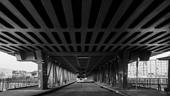 Riverbus / a visit from another world (Özgür Gürgey) Tags: 169 2017 20mm bw d750 hamburg nikon oberhafenbrücke voigtländer architecture bridge shapes germany