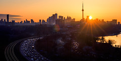 Tdot. March 29th Sunrise (rmikulec) Tags: city toronto mist sunrise cityscape architecture cn tower ontario canada building traffic gardiner