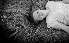 Calm (Photo Gal 2009) Tags: portrait blackandwhite girl monochrome look field grass peace looking dream meadow peaceful calm daisy dreamy gaze lay laying buttercups layingingrass blackandwhiteportrait meadowflowers portraitgirl britishwildflowers monochromeportrait englishwildflowers layinginfield
