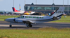 Fly (CI) Ltd Cessna 404 G-FIFA (birrlad) Tags: ireland dublin sunlight up airplane airport haze taxi aircraft aviation airplanes line landing heat approach takeoff runway airliner