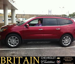 Britain Chevrolet Cadillac would like to say Congratulations to Catherine Macik on the 2013 Chevrolet Traverse from Branden Chambers (britainchevrolet) Tags: new chevrolet car sedan truck happy dallas texas allen britain tx pickup cadillac used vehicles chevy bday dfw plano van minivan suv coupe greenville dealership frisco mckinney shoutouts dealer customers metroplex preowned