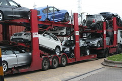 BMWs on car transporter June 2013 (Bristol Viewfinder) Tags: mobile cranes bmw trucks unusual load baldwins cartransporter ainscough sugarich