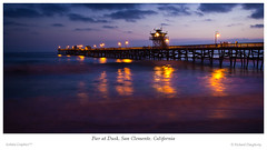 San Clemente pier at dusk - panorama (richd77) Tags: ocean california longexposure sunset sea panorama pier waves dusk wideangle sanclemente