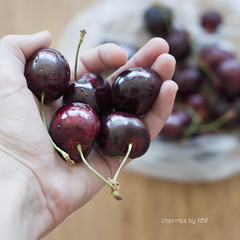 cherries (idni . idniama) Tags: summer food fruit 50mm cherries nikon drop fresh fruta squareformat verano gettyimages cerezas enmismanos inmyhands idni gettyimagesiberiaq3