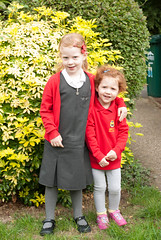 Sisters on the first day of school (Snoop Baggie Bag) Tags: schooluniform amélie 2013 éowyn