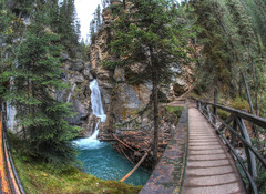 Johnston Canyon (Cocoabiscuit) Tags: park canada falls fisheye national banff canadianrockies johnstoncanyon cocoabiscuit hdroneraw d7100