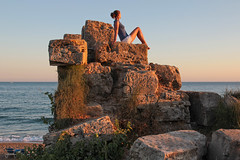 Side - top of the ancient wall on the beach 36 (Romeodesign) Tags: sunset sea sky woman sun holiday beach nature girl beautiful beauty silhouette sport rock yoga wall female strand training turkey pose outdoors evening coast living concentration healthy energy mediterranean riviera sitting slim exercise body top feminine side urlaub trkiye young free lifestyle trkei antalya health gymnastics sit balance recreation meditation practice relaxation shape fitness peninsula chill stretching turkish wellness chillout flexible workingout gymnastik gleichgewicht 550d pamphylian