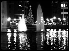 City Center at Christmas (Black and White) (THE Halloween Queen) Tags: christmas holiday fountain seasonal christmaslights christmasdecorations merrychristmas dazzle holidazzle pregamewinner