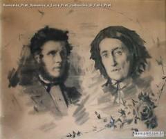 Romualdo Prati Domenico e Lucia Prati carboncino di Carlo Prati