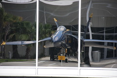 Blue Angel In Reflection / P2013-0621D0602 (Tim and Renda) Tags: reflections aviation museums blueangels militaryaviation fa18hornet nationalnavalaviationmuseum fighterjets militaryinstallations stateofflorida usnavyaviation navalairstations escambiacountyflorida aviationmuseums navybases usnavybases mcdonneldouglasfa18hornet vacation2013 floridanaspensacola floridacountyescambia naspensacolaflorida radfordblvd 1750radfordblvdnaspensacola blueangelsflightdemonstrationteamaircrafts