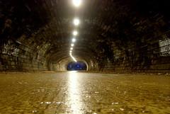 Old railway tunnel in Edinburgh (Tony Worrall) Tags: city stone dark way lost lights scotland edinburgh arch place floor grim tag country pass scottish tunnel down visit scene location tourist walkway area bulbs through lit damp scots lightattheendofthetunnel throughthetunnel darktunnel ©2014tonyworrall pictureofatunnel
