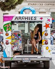 Waiting (jgonzo79) Tags: california orange color girl truck stars unitedstates boots hey stickers bored stop starbucks blond icecream van archies starbuckscoffee
