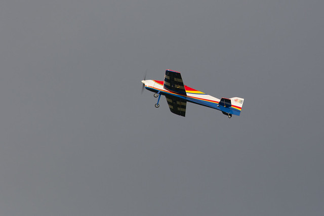 Ernie in the air with one of his electric models.