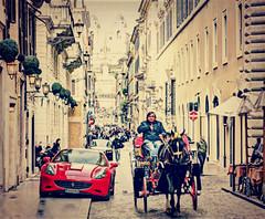 Giustapposizione (Paul B0udreau) Tags: street red italy horse rome face car italian nikon automobile raw streetphotography gimp samsung ferrari explore master layer cart buggy sportscar ribbet vivaitalia photomatix nikkor1855mm stickybeak hdrfromsingleshot d5100 samsungmaster paulboudreauphotography nikond5100
