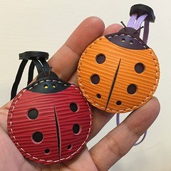 Custom order -Penny the Epi ladybug leather charm, flying to her owner today 👍😊😍🐞 (leatherprince) Tags: cute art leather square keychain handmade charm squareformat ladybug epi handcraft bagcharm leathercraft leatherprince iphoneography instagramapp uploaded:by=instagram