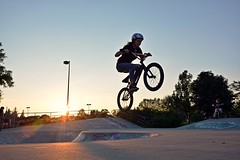 Jaymee getting some air (Braden Bygrave) Tags: sunset summer sun table cool nikon bmx fisheye skatepark tabletop nohands kitchner 18140mm