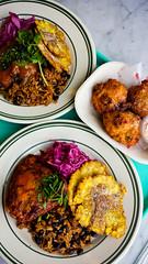 La Cubana 1 (alanosaur) Tags: red food toronto chicken cuisine restaurant beans rice deep roast pork meal slaw cabbage fusion cuban shoulder fried plantains conch ossington fritters achiote fritter lacubana