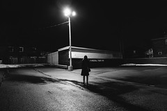 encounters. (jonathancastellino) Tags: toronto series lot parking funeral friend figure elaine light lamp leica q night empty funeralparking wire wires shadow puddle rain
