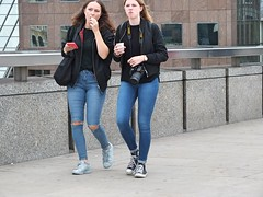 London Bridge Black & Blue (Waterford_Man) Tags: photographer camera girls jeans people path candid street london