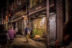 Graffiti on the shutter (yamagenov) Tags: japan tokyo graffiti hdr street streetphotography night nightphotography signs canon eoskissx7 eosrebelsl1 eos100d efs24mmf28stm