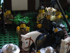 The Untimely Death of Stephen II (GrayOverload) Tags: house castle windmill soldier army death heraldry king lego medieval hut sword knight hood shield shack archer stab chainmail peasant