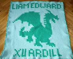 Dragon Blanket for Liam Edward (dochol) Tags: baby chart cute wool dragon handmade crafts name crochet graph yarn blanket afghan bebe alphabet manta babyblanket personalised croche babyname crochethooks