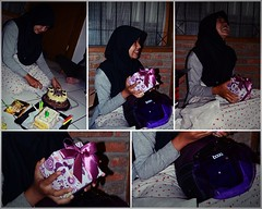 Happy Milad Jude (qefy) Tags: happy hijab jude laugh helm bogo kue kado ungu flowerofislam miladjude