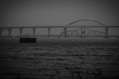 bridge noir (pasta e broccoli) Tags: travel bridge bw water wisconsin harbor harbour superior lakesuperior trainbridge bongbridge