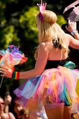 rainbow skirt (Sam Scholes) Tags: woman girl festival digital fun utah costume nikon colorful parade event saltlakecity blonde tutu d300 tutuskirt utahpridefestival2013 utahprideparade2013