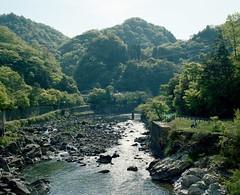 mukogawa (troutfactory) Tags: mountains green film beautiful japan mediumformat river landscape view rangefinder  analogue 6x7 kansai  kodakportra400 mukogawa  takedao  mukoriver fujifilmgf670 voigtlanderbessaiii
