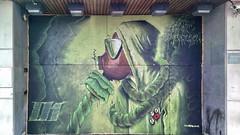 green man (Harry Halibut) Tags: street urban streetart building green art public graffiti mural artist mask sheffield gas doorway poppy figure badges allrightsreserved eyre banthebomb publicartinsheffield rocket01 colourbysoftwarelaziness imagesofsheffield 2013andrewpettigrew sheff1305310149
