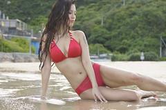 _DSC5717 (rickytanghkg) Tags: red portrait sexy beach beauty lady female asian hongkong model pretty outdoor chinese bikini sheko