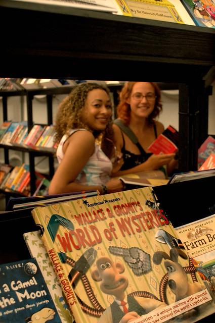 Happy Bookshop browsers at the 2004 Edinburgh International Book Festival