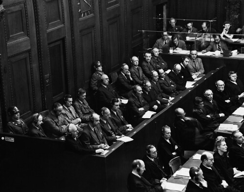From flickr.com: Held for the purpose of bringing Nazi war criminals to justice, the Nuremberg trials were a series of 13 trials carried out in Nuremberg, Germany, between 1945 and 1949. The defendants, who included Nazi Party officials and high-ranking military officers along with German industrialists, lawyers and doctors, were indicted on such charges as crimes against peace and crimes against humanity. {MID-170398}