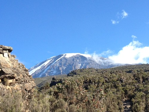 Last look at Kilimanjaro before descending into the rainforest