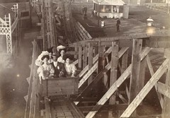 A Victorian rollercoaster around 1900 (RCAHMS) Tags: park bw hat sepia scotland amusement wooden ride victorian historic 1900 leisure rollercoaster oldphotograph canmore funfair mather bigdipper montagnerusse leamingtonterrace russianmountain rcahms dp108910