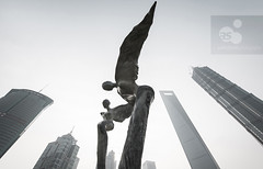 Sculptures and skyscrapers, Lujiazui Green Park, Lujiazui, Pudong, Shanghai, China (axelschmies photography) Tags: china park sky urban sculpture oktober tower art public skyscraper outside grey nikon exterior shanghai bright outdoor chinese culture wideangle greenpark daytime highkey  fx pudong metropole urbanscapes lujiazui highriser chn megacity 2013 1424 d3x