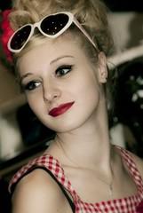 poupoupidou (ixos) Tags: red portrait girl beauty face vintage glasses glamour lips retro blonde pinup charme ixos salondelaphoto
