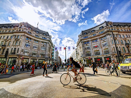 Cycling through Oxford Circus